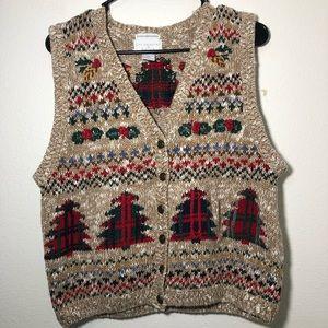 Vintage Christopher & banks embroidered vest large